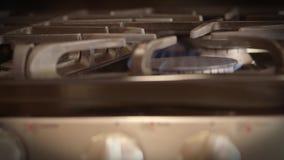 Kitchen stove temperature control knob stock video