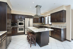 Kitchen with stove-top island Royalty Free Stock Photos