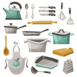 Kitchen Stuff Icons Set. With apron frying pan and teapot flat vector illustration vector illustration