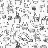 Kitchen stuff seamless pattern. Stock Photos