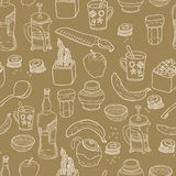 Kitchen stuff seamless pattern. Stock Photo