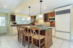 Kitchen in suburban home Stock Images