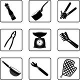 Kitchen supplies. Kitchen objects black and white silhouettes in a nine square grid Stock Photography