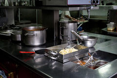 Kitchen supplies. Different supplies and products on restaurant kitchen Stock Images