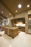 Kitchen Surrounded With Spotlights On Ceiling Stock Image