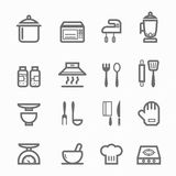 Kitchen symbol line icon set Royalty Free Stock Photos