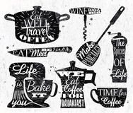 Kitchen symbol vintage lettering restaurant Stock Photos