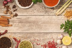 Kitchen Table Covered with Spices. A wooden table with a large diversity of spices including star anise, nutmeg, cinnamon sticks, cloves, cardamon, pink Royalty Free Stock Photography