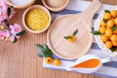 Kitchen table with Delectable imitation fruits, Fruit Shaped Mung Beans, Thai traditional dessert. Delectable imitation fruits, Fruit Shaped Mung Beans, Thai stock photo