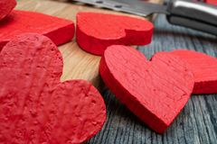 Red hearts postcard valentines day stock photo