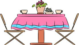 Kitchen table with houseplant and cup Stock Photos