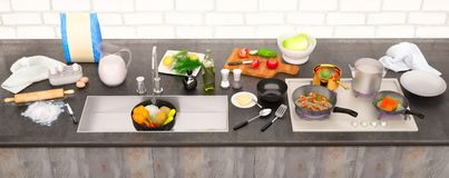 Kitchen table with ingredients and utensils. Panorama. Stock Image