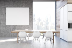 Kitchen table with poster Stock Photo