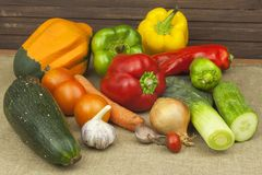 Kitchen table, ready for cooking vegetable dishes. Healthy diet food. Royalty Free Stock Images
