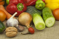 Kitchen table, ready for cooking vegetable dishes. Healthy diet food. Royalty Free Stock Photo