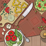 Kitchen table top viewed from the top Royalty Free Stock Photography