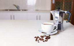 Kitchen tabletop and morning coffee Royalty Free Stock Photos
