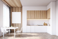 Kitchen with tabletop and table, wood Royalty Free Stock Image