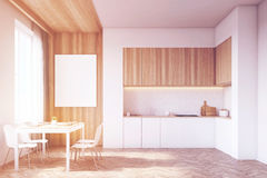 Kitchen with tabletop and table, wood, toned Stock Photo