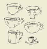 Kitchen tableware hand drawn image. assorted cup and mug sketch artwork. Stock Photos