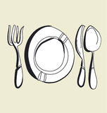Kitchen tableware hand drawn image. fork, knife, plate and spoon sketch artwork. Stock Images