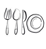 Kitchen tableware hand drawn image. Stock Photos