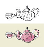 Kitchen tableware hand drawn image. Stock Images