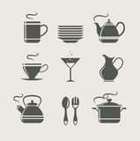 Kitchen tableware set of icons Royalty Free Stock Photography