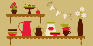 Kitchen tableware. Kitchen shelves with tableware and decor stock illustration