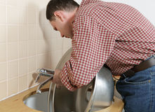 Kitchen tap installation Stock Image