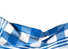 Kitchen textile cloth border decoration isolated. Kitchen blue color kitchen cloth border isolated.Food decoration.Textile domestic kitchen symbol stock images