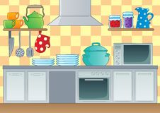 Kitchen theme image 1 stock illustration