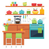 Kitchen themed illustration and icons Stock Images