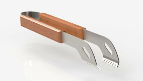 Kitchen tongs. Rendering of model  kitchen tongs on soft gray background Stock Photo