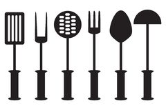 Kitchen tool collection -  silhouette. Kitchen accessories black white Stock Images