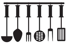 Kitchen tool collection -  silhouette. Kitchen accessories on the wall Stock Photography