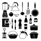 Kitchen tool collection vector silhouette Stock Photo