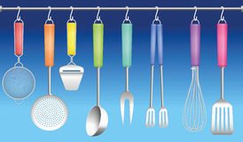 Kitchen Tool Hanger Colors Cutlery Royalty Free Stock Image