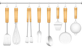 Kitchen Tool Hanger Cutlery. Kitchen tools on a hanger - spatula, whisk, tongs, fork, ladle, cheese slicer, skimmer and sieve. Isolated vector illustration on Stock Images