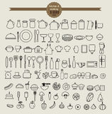 Kitchen tool icon set and food icon set Royalty Free Stock Photos