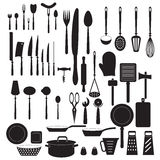 Kitchen tool icons set. Vector silhouettes Stock Photo