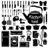 Kitchen tool silhouette collection set on white background Royalty Free Stock Photos