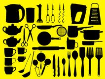Silhouettes of kitchen items Royalty Free Stock Photos