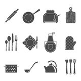 Kitchen tools accessories black icons set. Kitchen utensils tools and accessories icons set with cutting board and apron black abstract vector illustration vector illustration