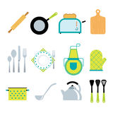 Kitchen tools accessories flat icons set Stock Photography