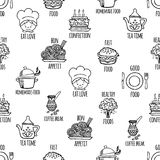 Kitchen tools black and white seamless pattern vector. Stock Photo