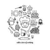 Kitchen tools and cook sketch icons isolation vector set Royalty Free Stock Photos