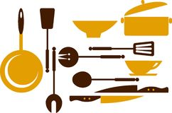 Kitchen tools for cooking and frying -1 Royalty Free Stock Photo