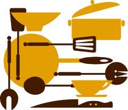 Kitchen tools for cooking and frying -2 Royalty Free Stock Photography