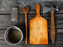 Kitchen tools - cooking supplies. Baking, cooking and cutting - kitchen tools Stock Photography